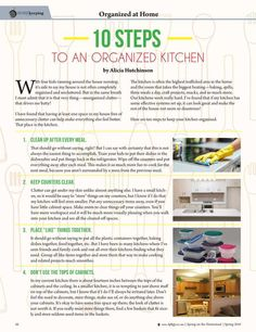 10 Steps to an Organized Kitchen By: Alicia Hutchinson --Molly Green Spring 2016…
