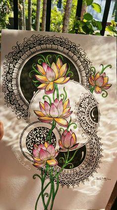 Mandala Art Lesson, Mandala Artwork, Mandala Painting, Mandala Drawing, Madhubani Art, Madhubani Painting, Doodle Art Designs, Indian Art Paintings, Art Drawings Sketches Simple