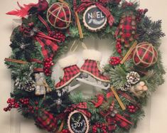 Farmhouse Christmas Wreath, Red and Black Buffalo Plaid Christmas Wreath, Farmhouse Christmas Decor, Christmas Wreath