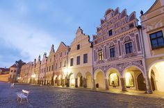 Telč renaissance town at the dusk, Czechia Central Europe, Czech Republic, North West, Poland, Images, Germany, Mansions, Country, Architecture