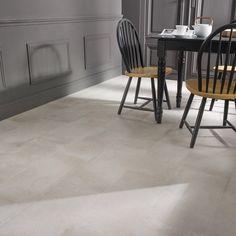 carrelage_sol_et_mur_blanc_casse_effet_beton_time_l_30_x_l_60_cm Tile Floor, Sweet Home, Dining Table, Bedroom, Inspiration, Furniture, Leroy Merlin, Home Decor, Greige