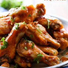 Honey Maple BBQ Wings Recipe Appetizers, Lunch with chicken wings, honey, mustard, maple syrup, barbecue sauce, cayenne pepper, garlic powder