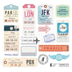 Vintage Luggage Tags and Stamps stock vector art 25204543 - iStock
