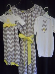 Delivery gown, big sister dress and matching newborn outfit! Boutique Gray Chevron Mommie and twin boy and by donnasboutique. Boy Girl Twins, Twin Girls, Twin Babies, Twin Outfits, Matching Outfits, Girl Outfits, Gray Chevron, Chevron Pants, Baby On The Way