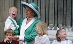 Prince Harry sticking his tongue out much to the surprise of his mother, Princess Diana, at Trooping The Colour with Prince William, Lady Gabriella Windsor and Lady Rose Windsor on the balcony of Buckingham Palace