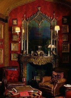 Gothic Bedroom - When you are looking for timeless design and create an emotional sign, nothing is better than the gothic style. Gothic House, Victorian Gothic, Victorian Homes, Victorian Decor, Style Marocain, Gothic Bedroom, Steampunk Bedroom, Victorian Interiors, Red Rooms