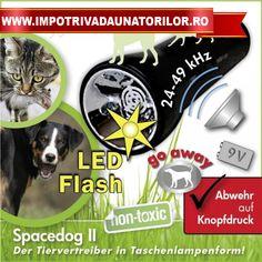 Aparat anti caini portabil cu ultrasunete Space Dog II Este un dispozitiv mobil, cu alimentare cu o baterie de 9V este foarte eficient impotriva cainilor si pisicilor. Ideal pentru jogging, plimbari, mersul cu bicicleta, curieri, poate fi utilizat de persoanele care doresc sa fie protejate de atacurile cainilor agresivi sau pisicilor.