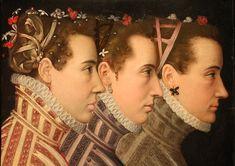 Lucas de heere (attr.), triplo ritratto femminile di profilo, paesi bassi meridionali 1570 ca.jpg