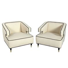 Pair of Substantial Modern Lounge Chairs with Great Lines | From a unique collection of antique and modern lounge chairs at http://www.1stdibs.com/furniture/seating/lounge-chairs/