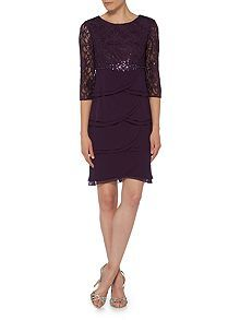 Lace tiered chiffon dress