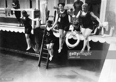 German Empire Kingdom Prussia Berlin Berlin Women sports 'Ladies' swimming bath in Mariendorf vicinity of Berlin 1910' 1910 Published by 'Die Gruene...