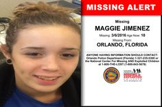MAGGIE JIMENEZ, Age Now: 18, Missing: 03/06/2016. Missing From ORLANDO, FL. ANYONE HAVING INFORMATION SHOULD CONTACT: Orlando Police Department (Florida) 1-321-235-5300.