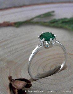 Emerald 925 Sterling Silver Ring               by CedarCreekCanada