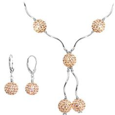 Sterling Silver Clear Champagne Ball Drop Necklace and Earring Set Body Candy. $159.99. Czech Crystal Jewelry