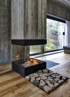 Seaside House by Ultra Architects- great #fireplace