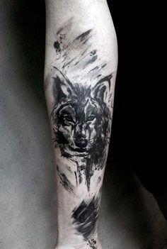 Guy's Wolf Skull Tattoo