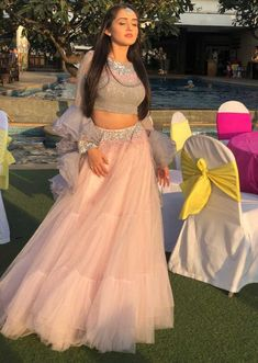 Tanya sharma in kalki powder pink sequins embroidered net lehenga with grey georgette blouse Indian Wedding Gowns, Indian Gowns Dresses, Indian Bridal Outfits, Indian Fashion Dresses, Dress Indian Style, Indian Designer Outfits, Designer Dresses, Lehenga Wedding, Fashion Outfits