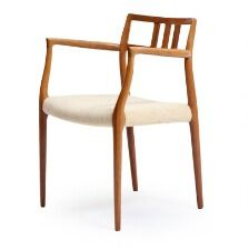 1650/598 - Niels O. Møller: A rosewood armchair upholstered in seat with light wool. Model 64. Designed 1966. Manufactured by J. L. Møller, Højbjerg.