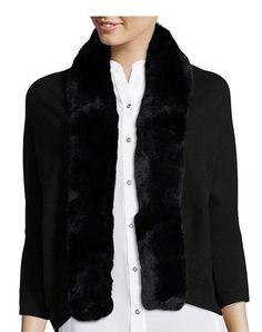 8661c4a691 NWT Hayden Black Rabbit Fur Trimmed Cashmere Rib Knit Bolero Size 1(XS/S)  $525