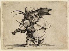 Jacques Callot, designer French, 1592-1635 Le Joueur de Violon (Violin player), Varie Figurae Gobbi, 1622 Etching Plate: 6.4 x 8.7 cm (2 1/2 x 3 7/16 inches) Gift of an anonymous friend 47.778.13