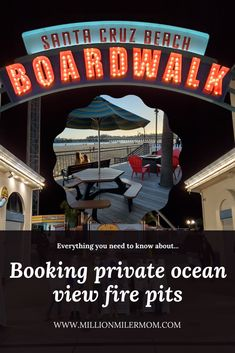 Everything you need to know about booking the private, ocean view fire pits at the Santa Cruz Beach Boardwalk now through April 25, 2021. #santacruz #santacruzcalifornia #santacruzbeachboardwalk #beachboardwalk #oceanview #beachfront #bonfire #firepit #firepits #familytime #daycation #daytrip #familyouting #smores #gimmesmores #marshmallow @beachboardwalk California Destinations, California City, Us Travel Destinations, Visit California, California Travel, Places To Travel, Usa Travel Map, Usa Travel Guide, Travel Guides