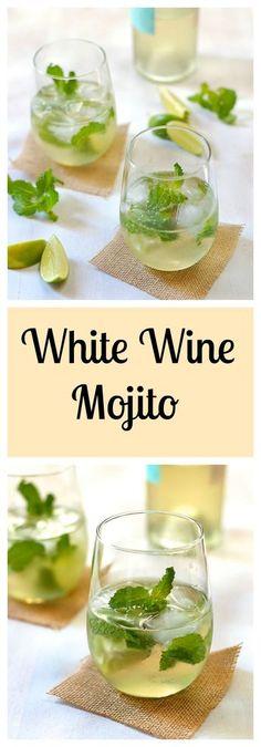 Wine Mojito White Wine Mojito with lime, mint, and agave. Recipe at .White Wine Mojito with lime, mint, and agave. Recipe at . Cocktails Vin, Summer Cocktails, Cocktail Drinks, Cocktail Recipes, Alcoholic Drinks, Beverages, White Wine Cocktail, Cocktails With Wine, Summer Wine Drinks