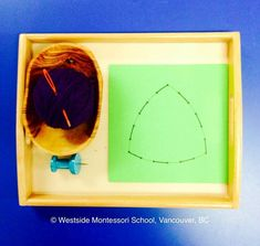Montessori Practical Life activity - Sewing Cards! These are the shapes of the Metal Insets - sewing using a needle and yarn. /wmswms/ (Westside Montessori School, Vancouver, BC)