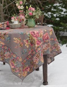 April Cornell Victorian Rose Tablecloth | Dusty Rose Print Tablecloth