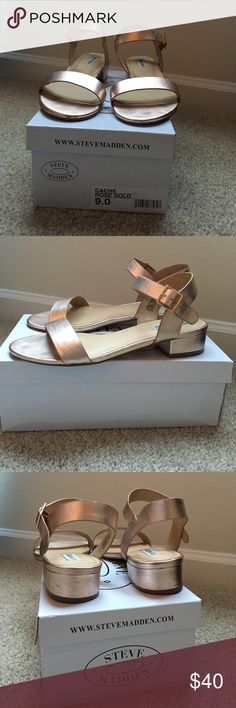 Steven Madden Cache Rosd Gold Sandals Great Summer sandal in the perfect color! Steve Madden Shoes Sandals