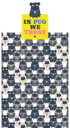 High quality pattern illustration of super cute Pugs on Behance