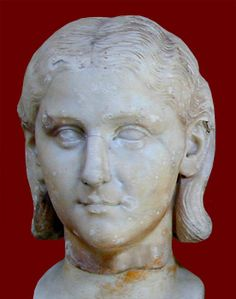 Portrait head in marble of a young girl. Rome, Vatican Museum