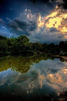 Reflective pool on the grounds of Kyu-Yasuda Teien gardens in Ryogoku, Tokyo.