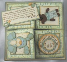 baby boy quad easel card + link to tutorial