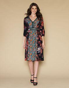 Clara Amber Print Dress | Black | Monsoon