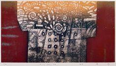 E-1.Jun.94 / 17.8x24.3cm  copperplate print (etching) with chine collé  林孝彦 HAYASHI Takahiko 1994
