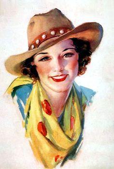 Vintage Cowgirl Pin-up Pub Vintage, Vintage Cowgirl, Vintage Art, Vintage Ladies, Vintage Beauty, Cowboy Art, Cowboy And Cowgirl, Images Vintage, Vintage Pictures