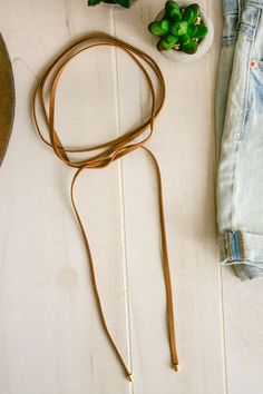 Leather Wrap Necklace- Camel