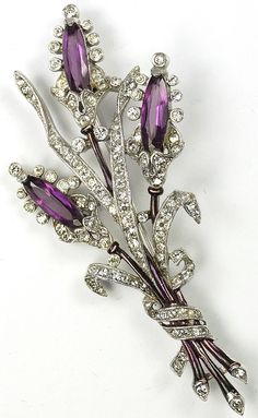 Trifari 'Alfred Philippe' Pave Enamel and Triple Amethyst Floral Spray Pin