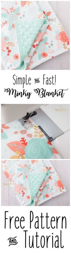 Minky Baby Blanket + Free Pattern, How to Sew Minky Blanket, Minky Blanket Tutorial, Easy Baby Blanket, DIY Minky Blanket, Things to Sew for Babies