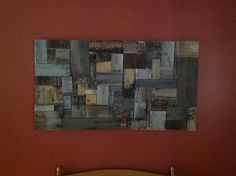 Pallet Wall Art: We made this out of extra wood from pallets and a little bit of wood glue :) awesome!