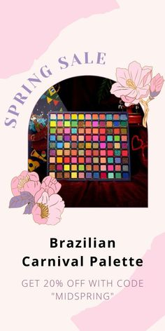 It's time to indulge, and throw yourself into the Carnival World of Brazil! You can create incredibly any bold glamour looks from those 99 shades, our extra big size palette expands on coveted favorites to unleash a chromatic parade of shimmers, glitters, and mattes. Currently 60%OFF with Free Shipping!! Only on neulons.com Spring Sale, Glitters, Brazil, Carnival, Palette, How To Apply, Shades, Glamour