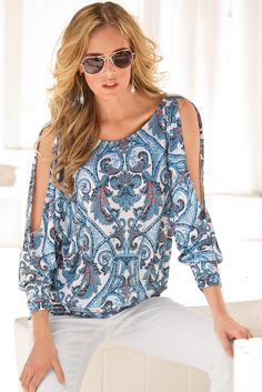 Boston Proper Paisley banded cold-shoulder top #bostonproper