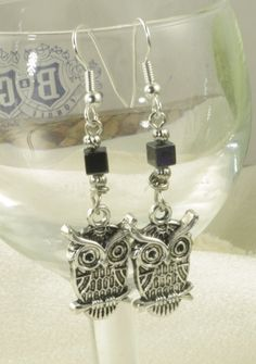 Silver and Hematite Owl Earrings
