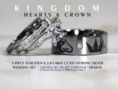 √ Kingdom Hearts Wedding Ring, Check Out This Kingdom Hearts Inspired Engagement Ring Heart Wedding Rings, Wedding Bands, Wedding Things, Wedding Stuff, Kingdom Hearts Crown, Sterling Silver Wedding Sets, Kindom Hearts, Heart Crown, Batman