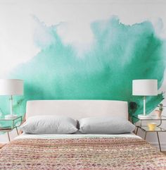 Why every hangout-worthy apartment needs a statement wall – Well+Good Watercolor Wallpaper, Watercolor Walls, Painting Wallpaper, Bedroom Wallpaper, Green Watercolor, Adhesive Wallpaper, Wallpaper Ideas, Wall Wallpaper, Murs Pastel