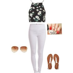 Flowers by taylorcarballo on Polyvore featuring polyvore, fashion, style, Topshop, Pieces, Aéropostale and Tommy Hilfiger Polyvore Fashion, White Jeans, Tommy Hilfiger, Topshop, Flowers, Pants, Image, Style, Trouser Pants