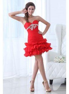 Short Ruffled Skirt Chiffon Sweetheart Red Homecoming Dress
