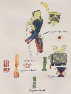 Naples; Garde Royale, Voltigeur Regiment, Uniform details, 1808-09 by H.Boisselier
