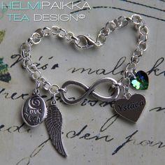 Infinity amuleteilla, ystävä sydänamuletilla ja vihreä lasimaalaus Swarovskin kristallisydämellä <3 Hanki omaksi täältä http://www.helmipaikka.fi/tuotteet.html?id=14/3335