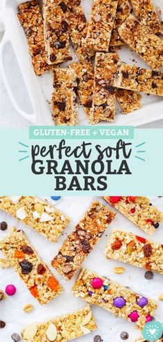 These homemade soft granola bars are loaded with goodies and naturally sweete. Healthy Granola Bars, Chewy Granola Bars, Muesli Bars, Homemade Granola Bars, Gluten Free Granola, Gluten Free Treats, Healthy Treats, Vegan Gluten Free, Dairy Free